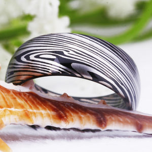 Damascus Steel Pattern Matching Couples Promise Ring