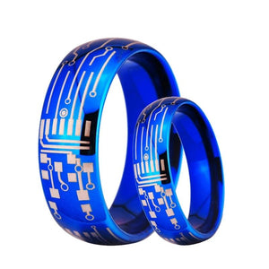 Blue-Color Circuit Board Tungsten Carbide Couples Wedding Ring