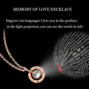 I love You In 100 Languages Projection Heart Pendant Necklace