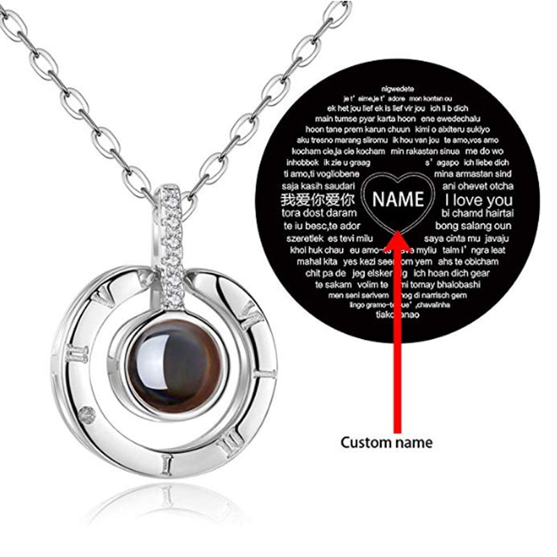 Personalized Name Necklace With I Love You Projection In 100 Languages