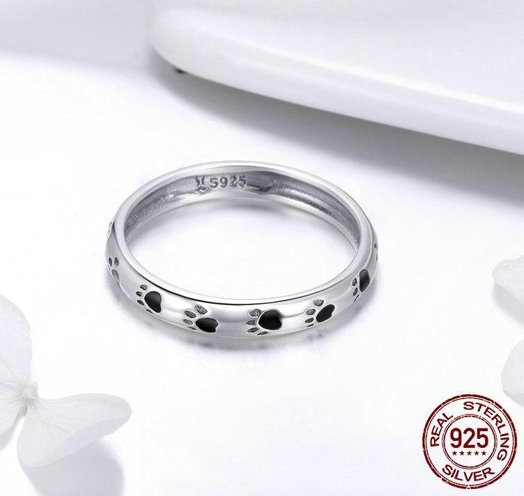 925 Sterling Silver Stackable Dog And Cat Footprints Ring