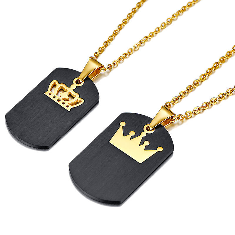 Personalized Tag With Crown Pendant Couples Necklaces