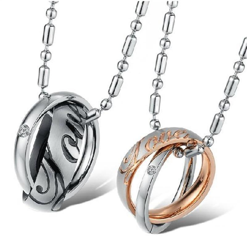 Interlocking Love Rings Couples Necklace