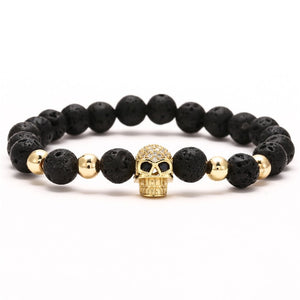 Skull  Beaded Charm Bracelet For Men And Women