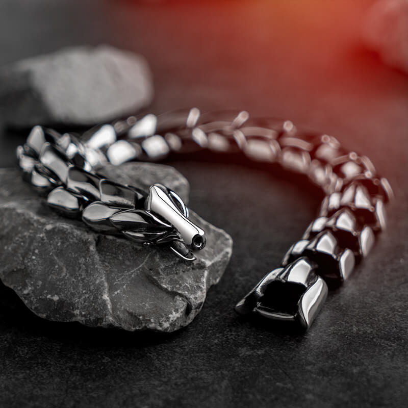 Black Or Silver Dragon Vintage Punk  Bracelet For Men