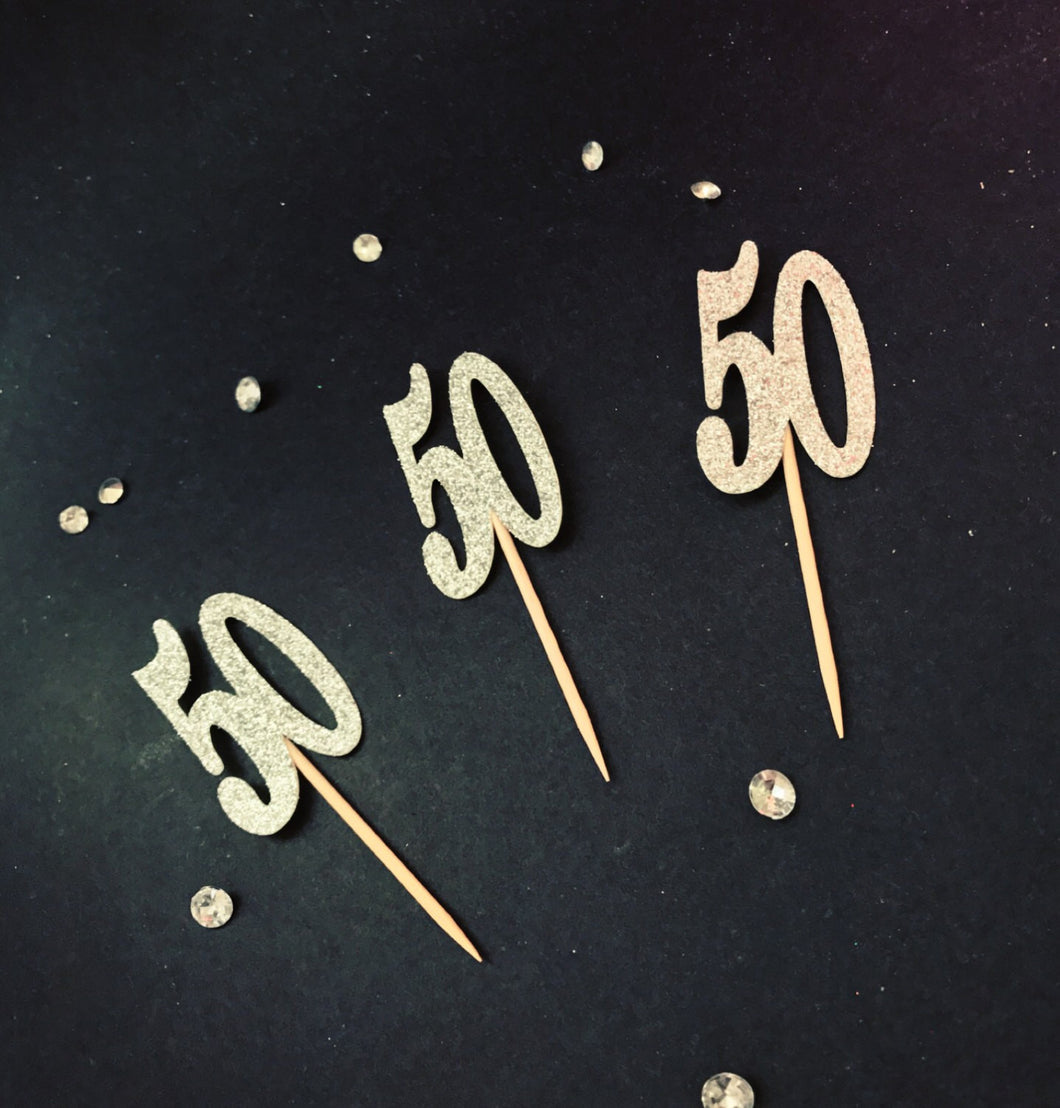50 Cupcake Topper 50th Birthday Toppers Anniversary Party