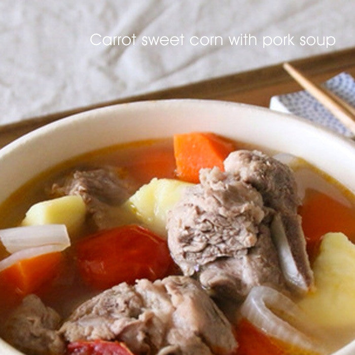Carrot sweet corn with pork in soup