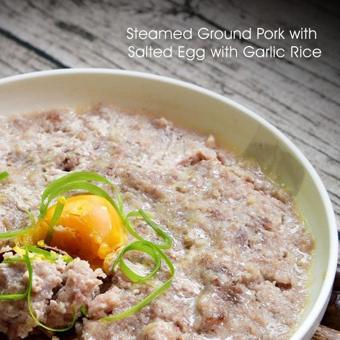 Steamed Ground Pork with Salted Egg with Garlic Rice