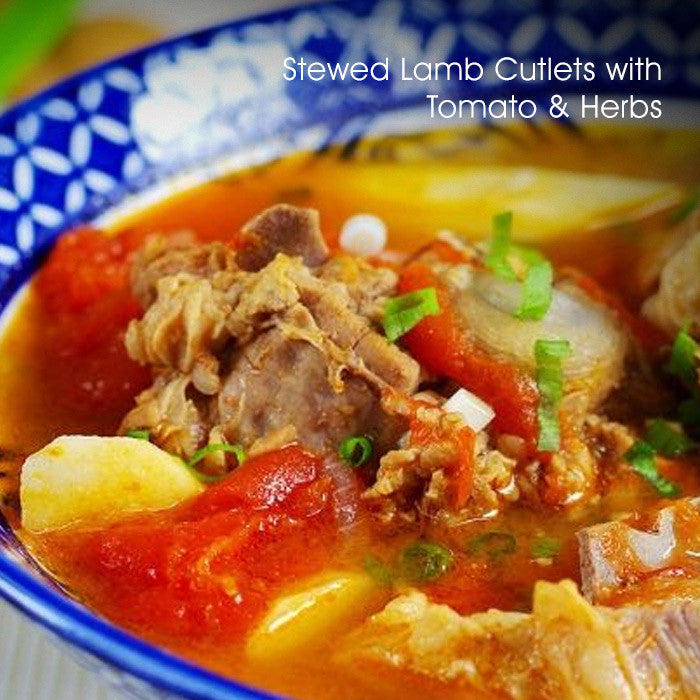 Stewed Lamb Cutlets with Tomato & Herbs