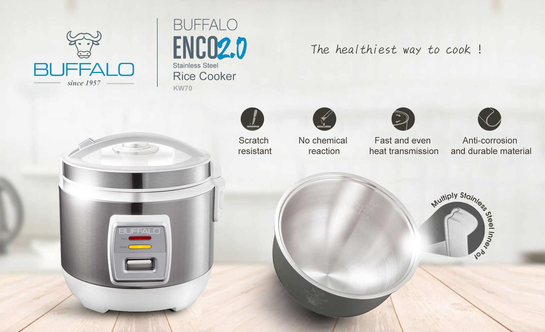 Buffalo Stainless Steel Rice Cooker