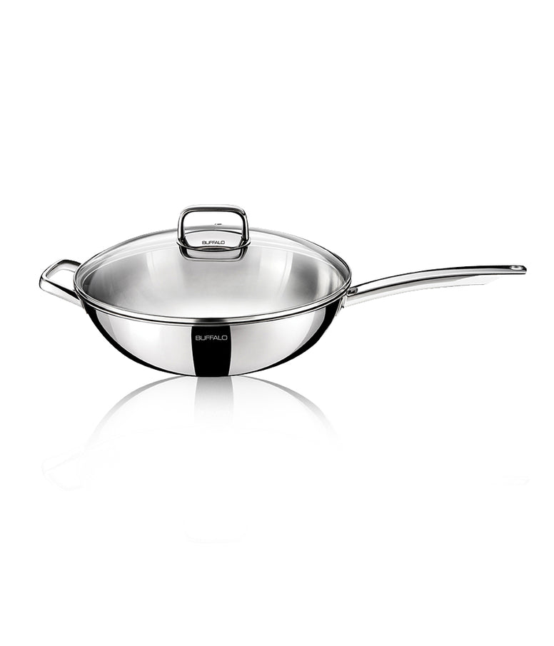 Buffalo Glassy Series 30cm Flat Bottom Wok