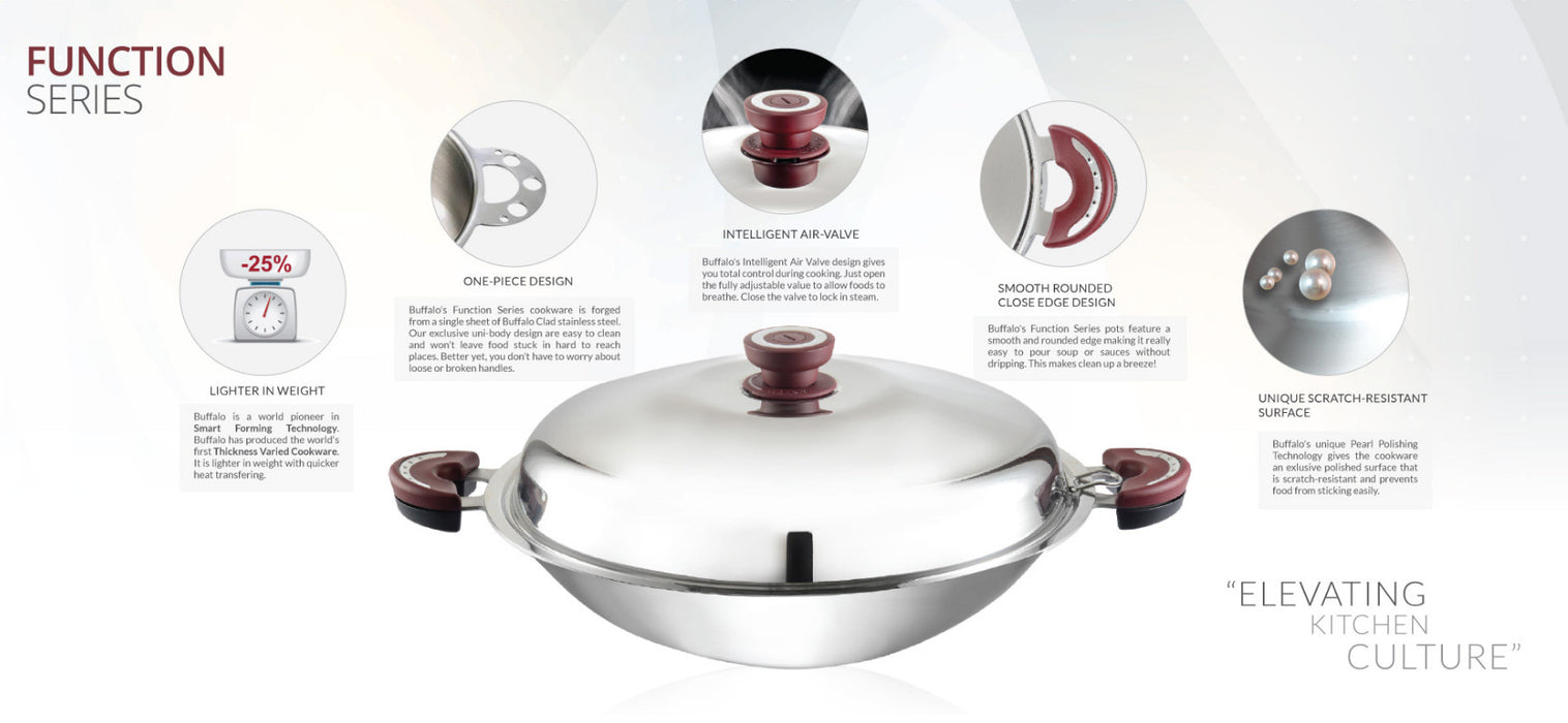Buffalo Function Series 38cm Round Bottom Wok