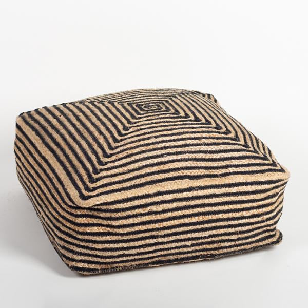 Jute Pouf with stripes