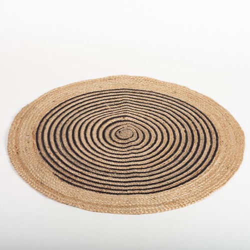 Black and Natural Jute Rug