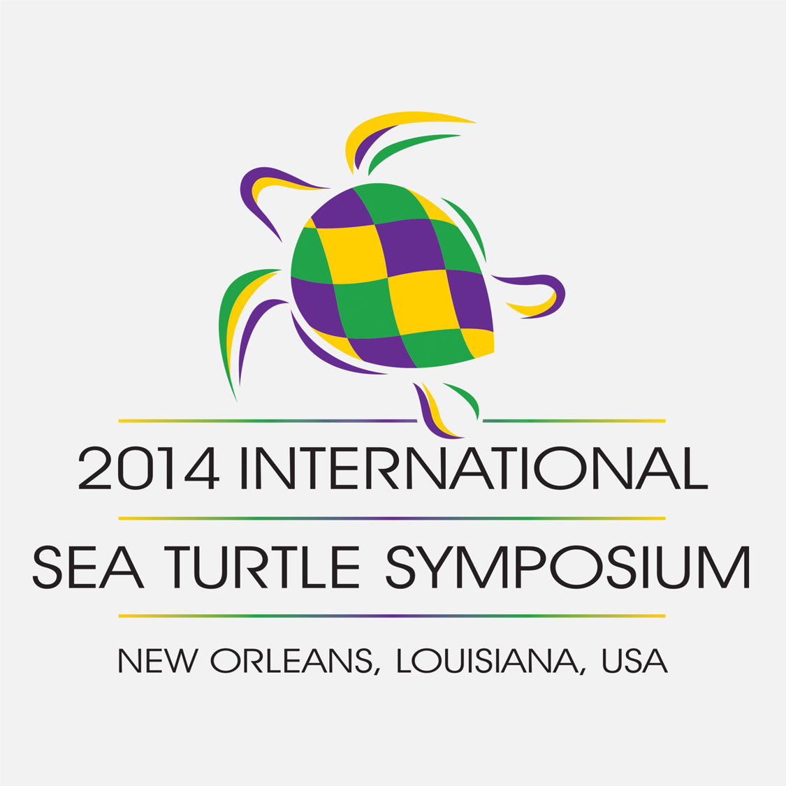 34th annual sea turtle symposium held in New Orleans, Louisianna. The logo depicts a Mardi Gras style sea turtle.