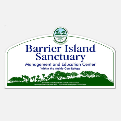 This signage for the Barrier Island Center, an environmental education facility located in Brevard County, Florida, depicts a silhouette of the barrier island habitats.