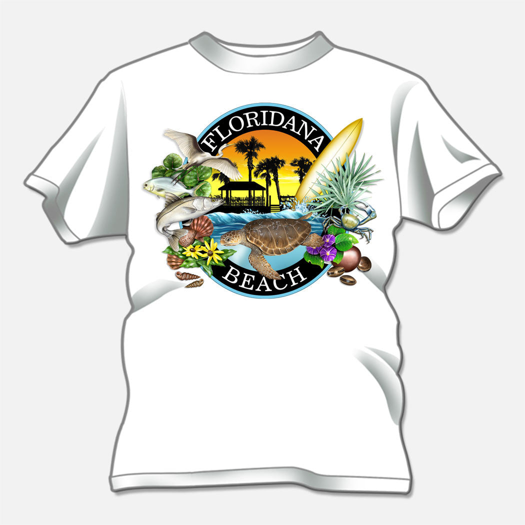 Floridana Beach t-shirt depicting features of the quaint Florida community. The design is a collage of several objects and critters found in and around Floridana Beach.