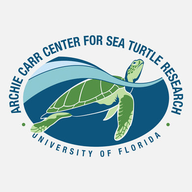 The Center's mission is to conduct research in all aspects of the biology of sea turtles, to educate students, and to further marine conservation. The logo is a graphic of a sea turtle breathing at the surface.