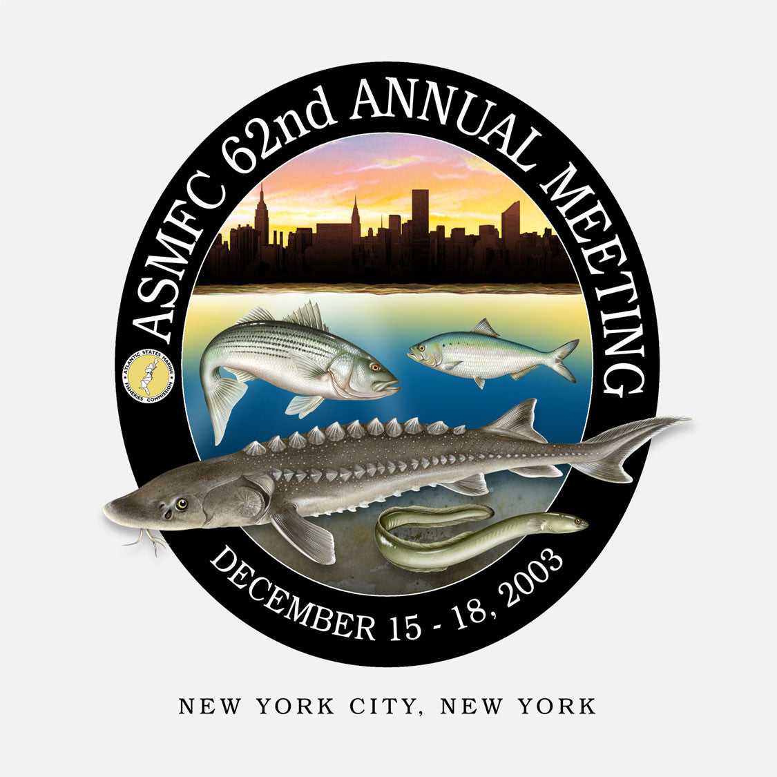 62nd annual meeting of the Atlantic States Marine Fisheries Commission, New York City, New York, 2003. The logo is of several fish species in front of a New York skyline.