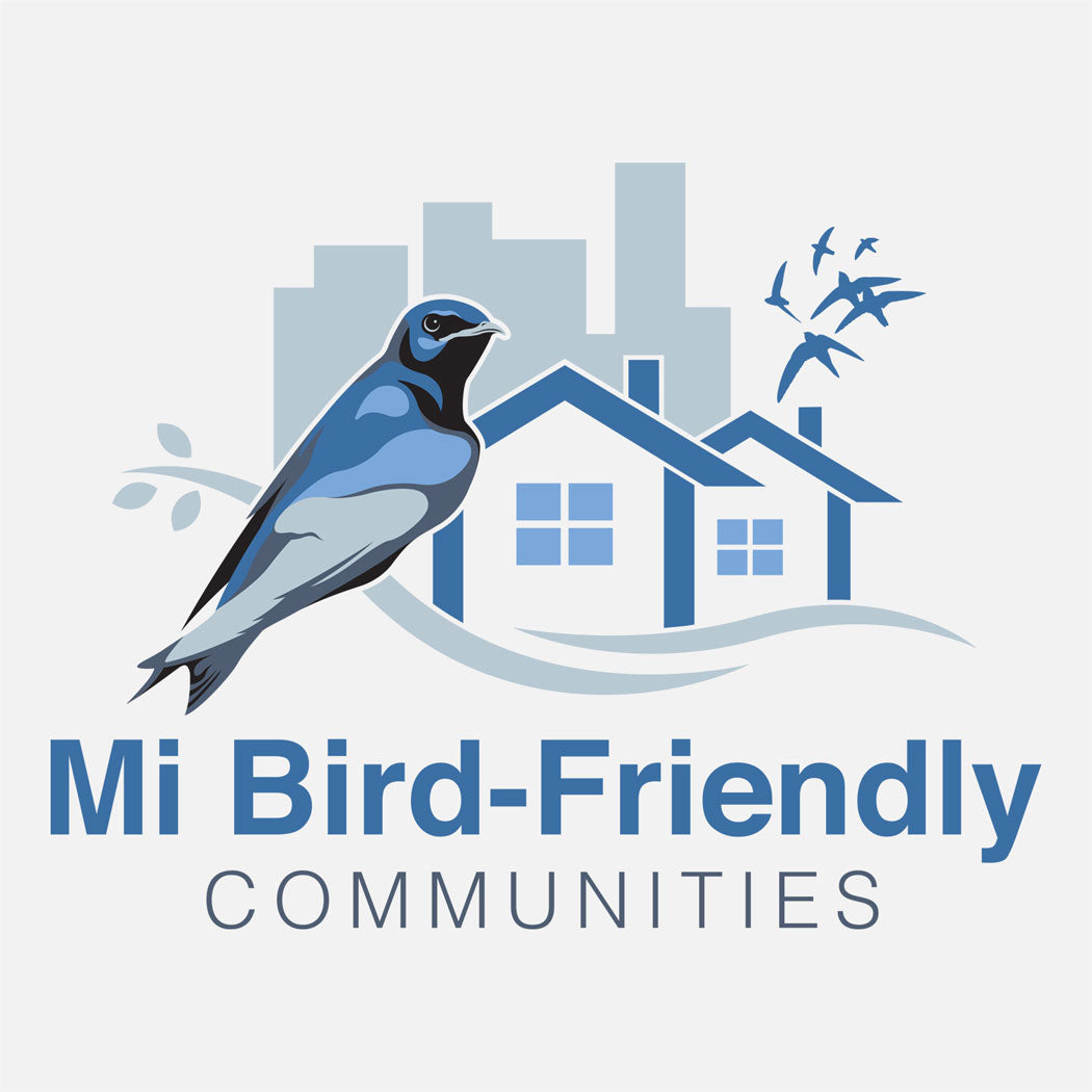 Logo for Michigan Bird-Friendly logo created for Michigan Audubon. The logo is a graphic of a purple martin and chimney swifts in city and neighborhood habitats.
