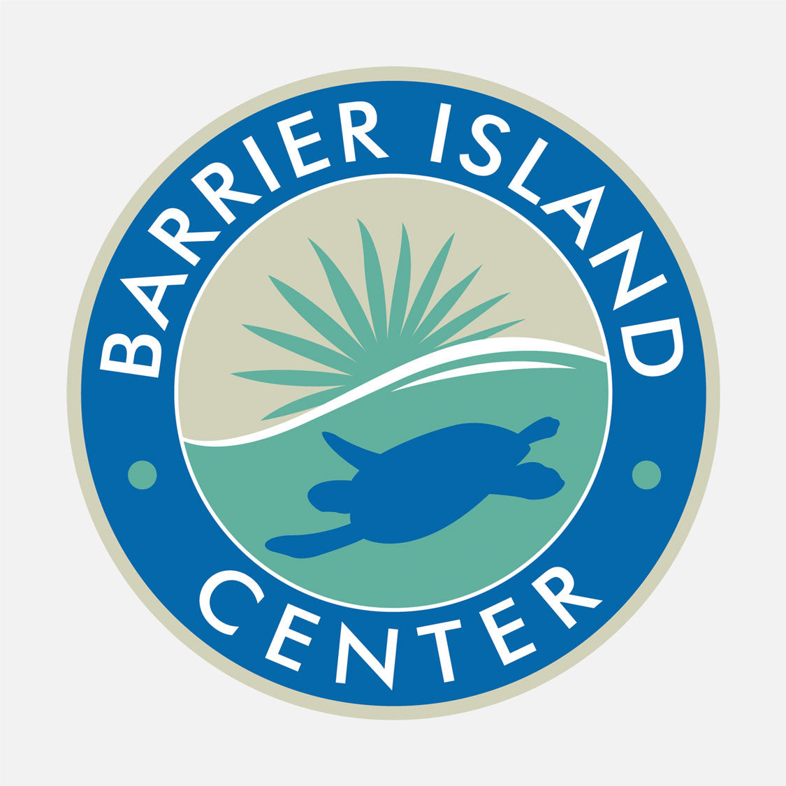 "The Barrier Island Center provides hands-on educational experiences for visitors to the Refuge through interactive exhibits, nature films, special programs and a 1-mile long ""dune-to-lagoon"" nature trail. The logo is a graphic of a sea turtle and mangroves."
