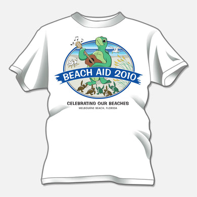 Fundraiser for healthy beaches, Melbourne Beach, Florida. the design is of a whimsical sea turtle playing the guitar on the beach.