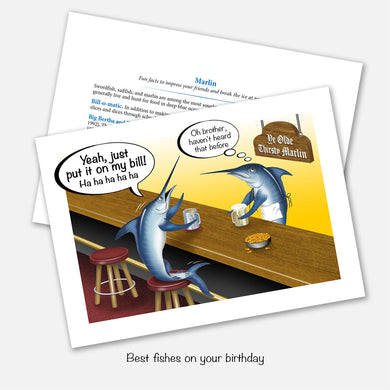 The card's image is of a marlin ordering a drink at a bar and telling the marlin bartender to