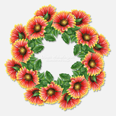 This colorful illustration is of Indian blanket flowers in a graphical arrangement.
