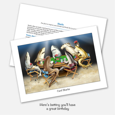 The card's image is of a group of sharks gathered around a poker table playing cards. Inside text: