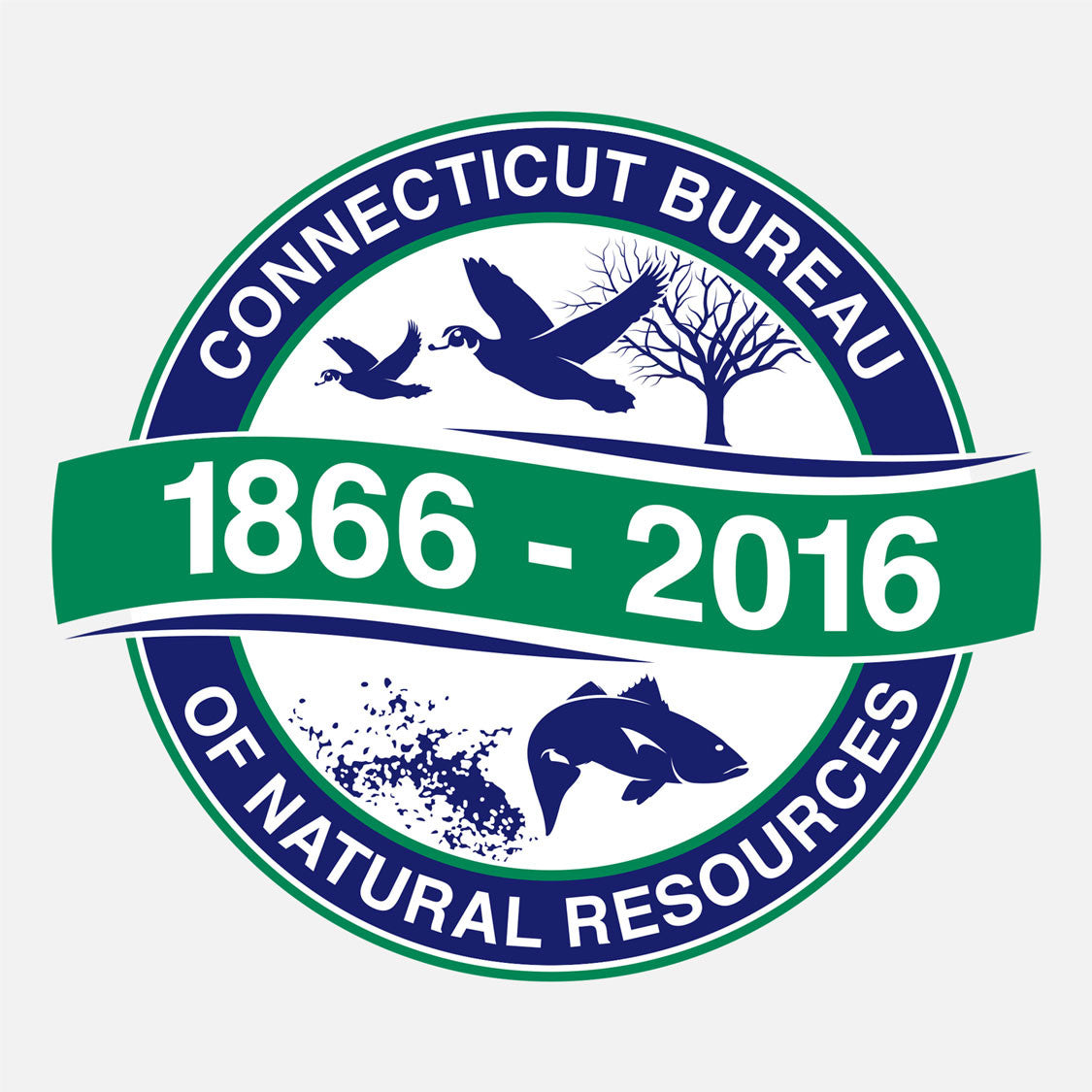 The Connecticut Bureau of Natural Resources recognizing their 150 year anniversary. The logo features a graphic of ducks and fish.