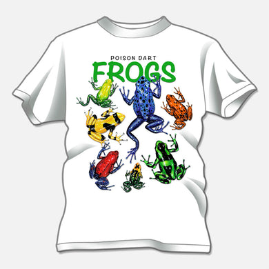 Poison Dart Frogs designed for a t-shirt design studio. The design of several colorful poison dart frogs.