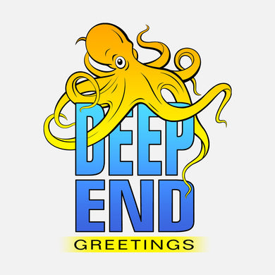 Logo for Deep End Greetings, a sea-themed line of greeting cards. the logo is a graphics image of an octopus wrapped around text.