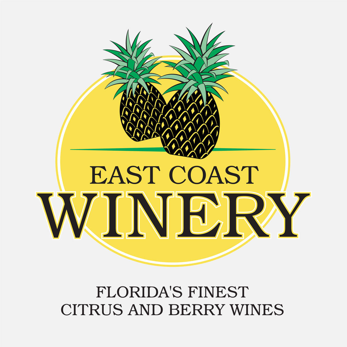 East Coast Winery is a shop that sells Florida citrus and berry wines. The logo is a graphic of pineapples over a yellow background.