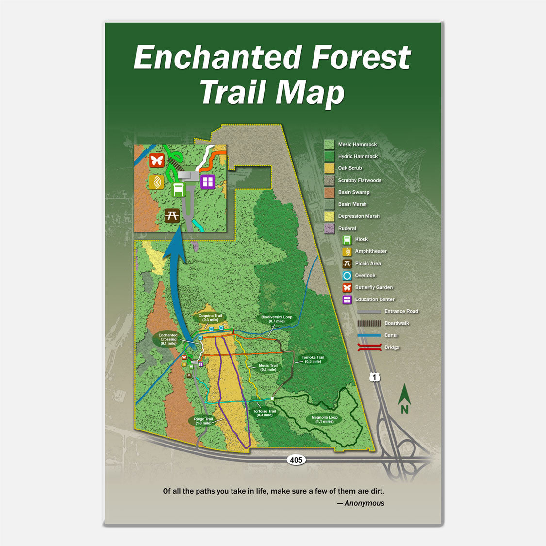 This trailhead sign outlines the trails of the Enchanted Forest Sanctuary in Brevard County, Florida.