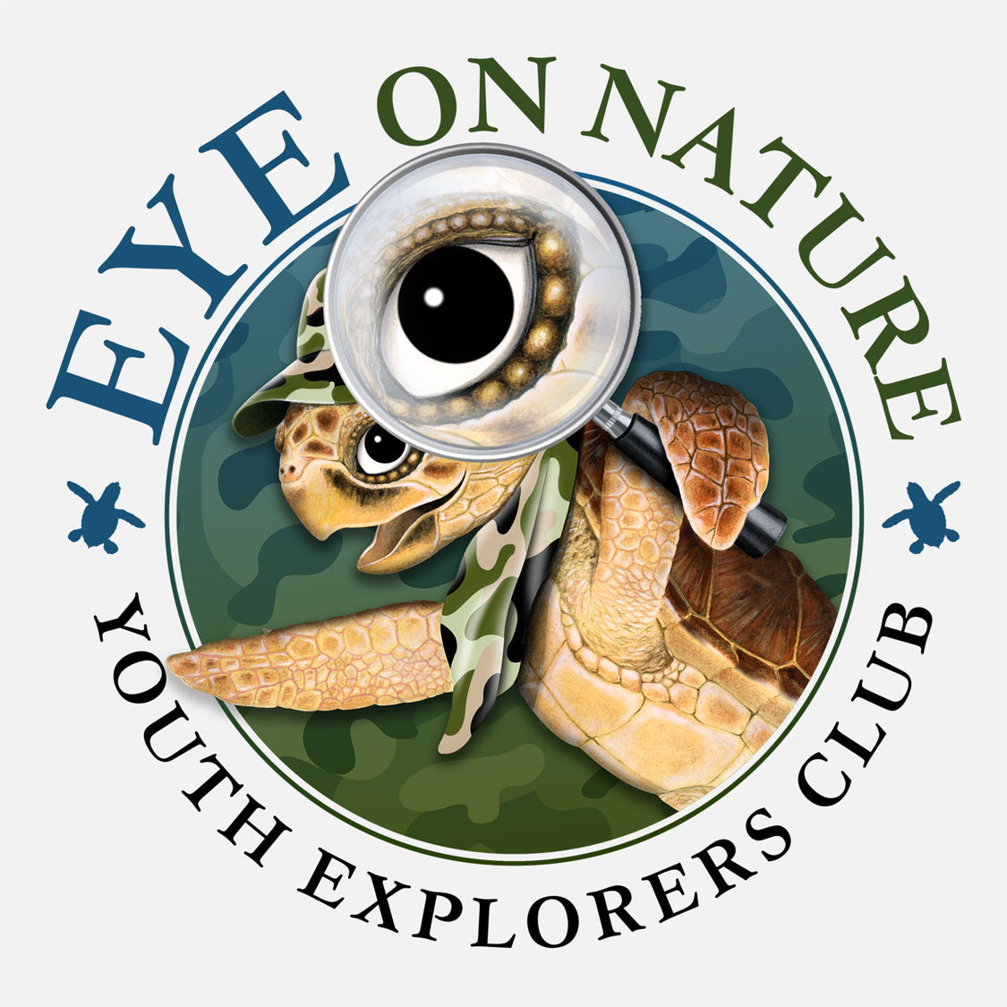 The Eye on Nature Youth Explorer's Club introduces children to the local wildlife and environment by taking them on a series of native adventures. The logo is a whimsical depiction of a sea turtle with a magnifying glass.