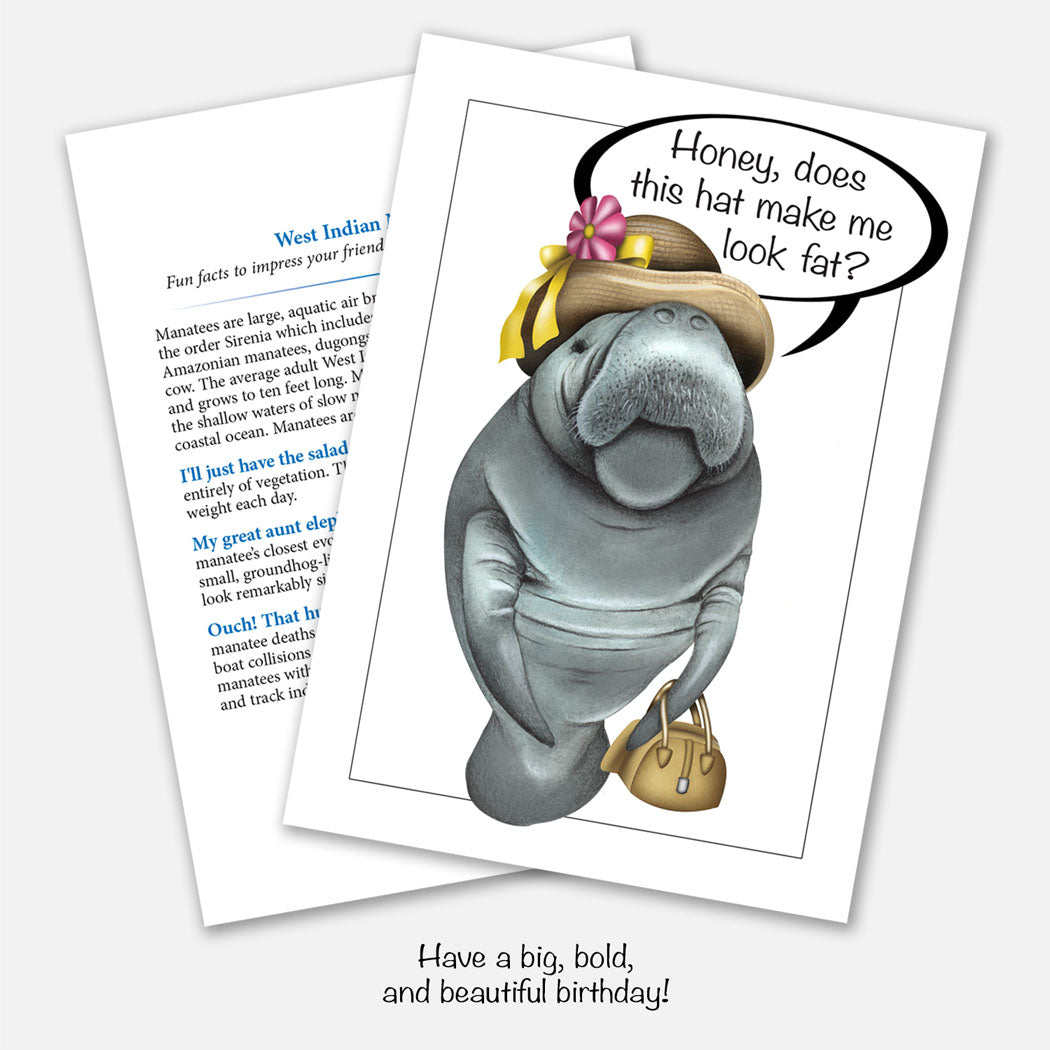 Manatee Birthday Greeting Card