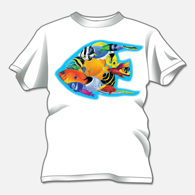 Colorful reef fish t-shirt illustrated for The Nature Company. The design is of several colorful reef fish forming the shape of a fish.