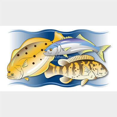 This stylized image of fish was created for printing on a glass platter.