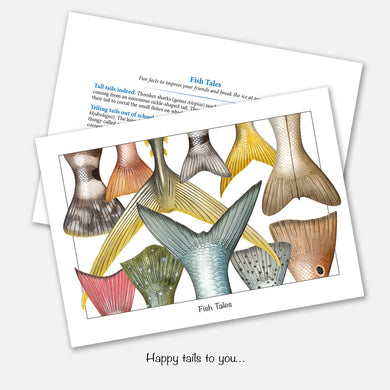 The card's image is of several fish tails (fish tales). Inside text: