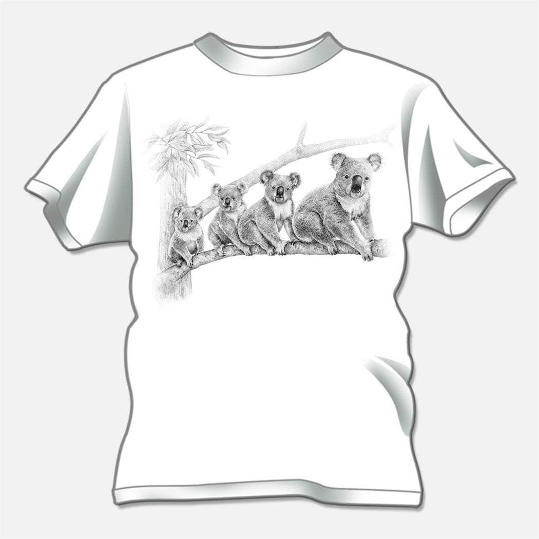 The design is a pencil illustration of four cute koala bears (Phascolarctos cinereus) on a tree limb.