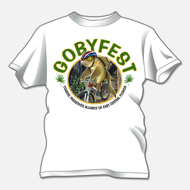 Gobyfest 2009 t-shirt designed for an annual event for Coastal Preserves Alliance. The design is a cartoon goby riding a bicycle through a trail.