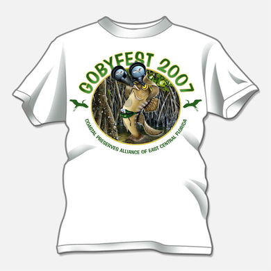 Gobyfest 2007 t-shirt designed for an annual event for Coastal Preserves Alliance. The design is of a whimsical goby looking through binoculars.