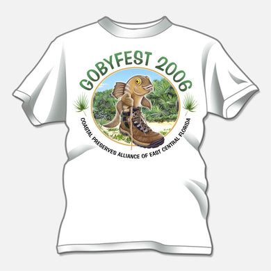 Gobyfest 2006 t-shirt designed for an annual event for Coastal Preserves Alliance. The design is of a whimsical goby in a hiking boot.