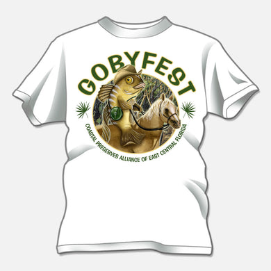 Gobyfest 2008 t-shirt designed for an annual event for Coastal Preserves Alliance. The design is of a whimsical goby riding a horse.