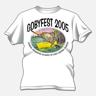 Gobyfest 2005 t-shirt designed for an annual event for Coastal Preserves Alliance. The design is of a whimsical goby paddling a kayak.