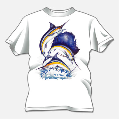 Billfish t-shirt created for a t-shirt design studio. The design is of three colorful leaping billfish.