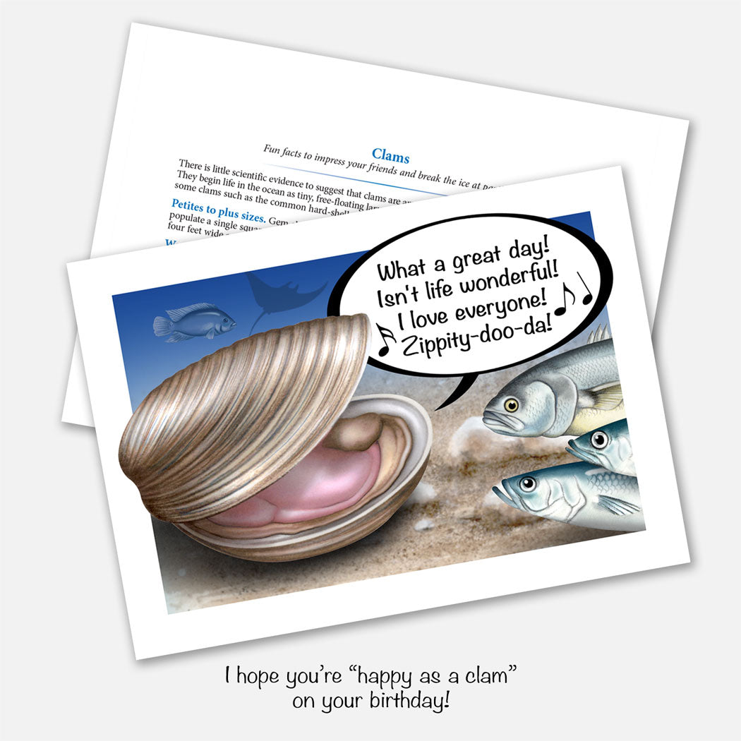 The card's image is of a happy clam singing