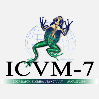 International Congress of Vertebrate Morphology (ICVM) Meeting, Boca Raton, Florida, 2004. The logo is a graphical image of a frog and skeleton.