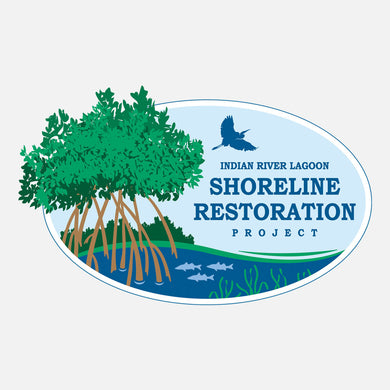 The Indian River Lagoon Shoreline Restoration Project logo was designed for the Florida Department of Environmental Protection. The logo is a graphic of mangroves at the shoreline.