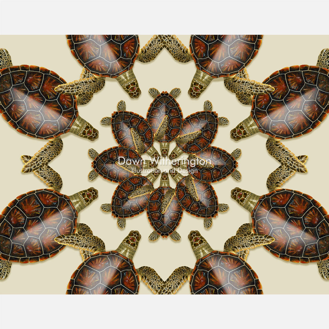 This beautiful design is of a kaleidoscopic graphic of juvenile green turtles, Chelonia midas.